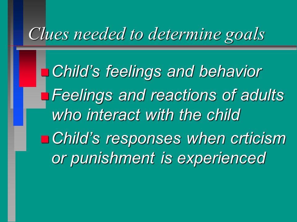 Clues needed to determine goals