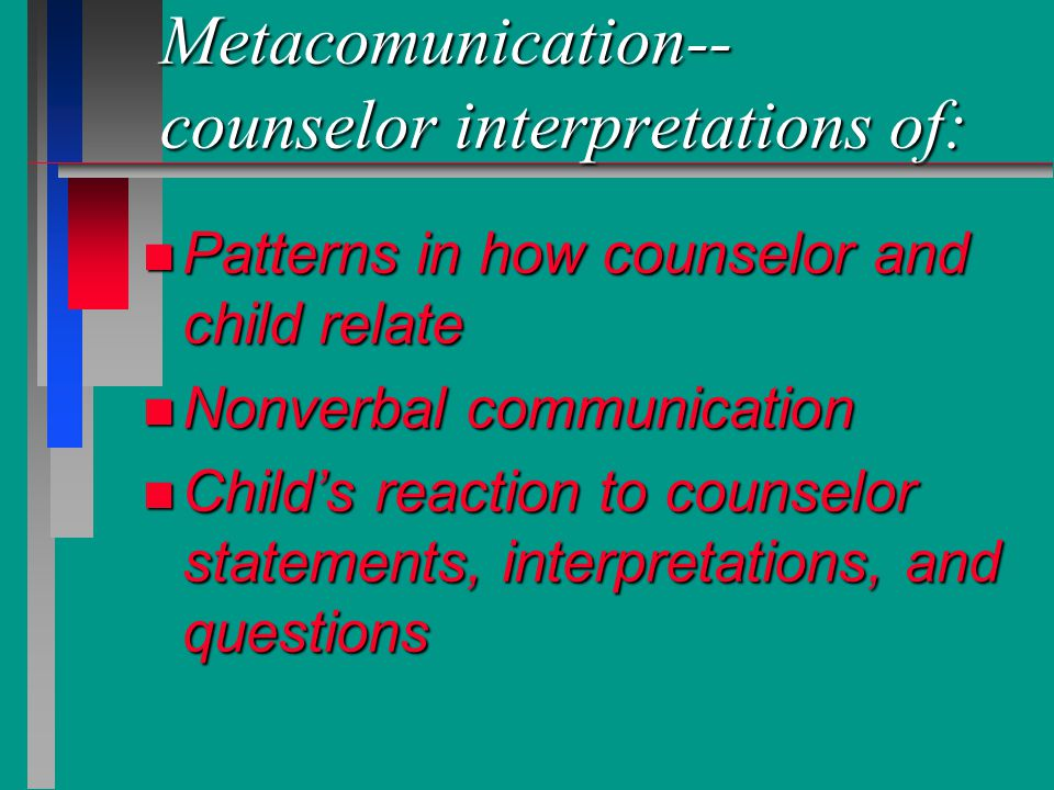 Metacomunication-- counselor interpretations of: