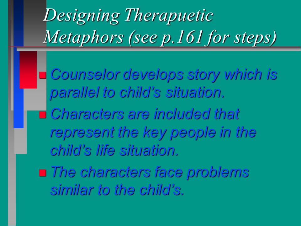 Designing Therapuetic Metaphors (see p.161 for steps)