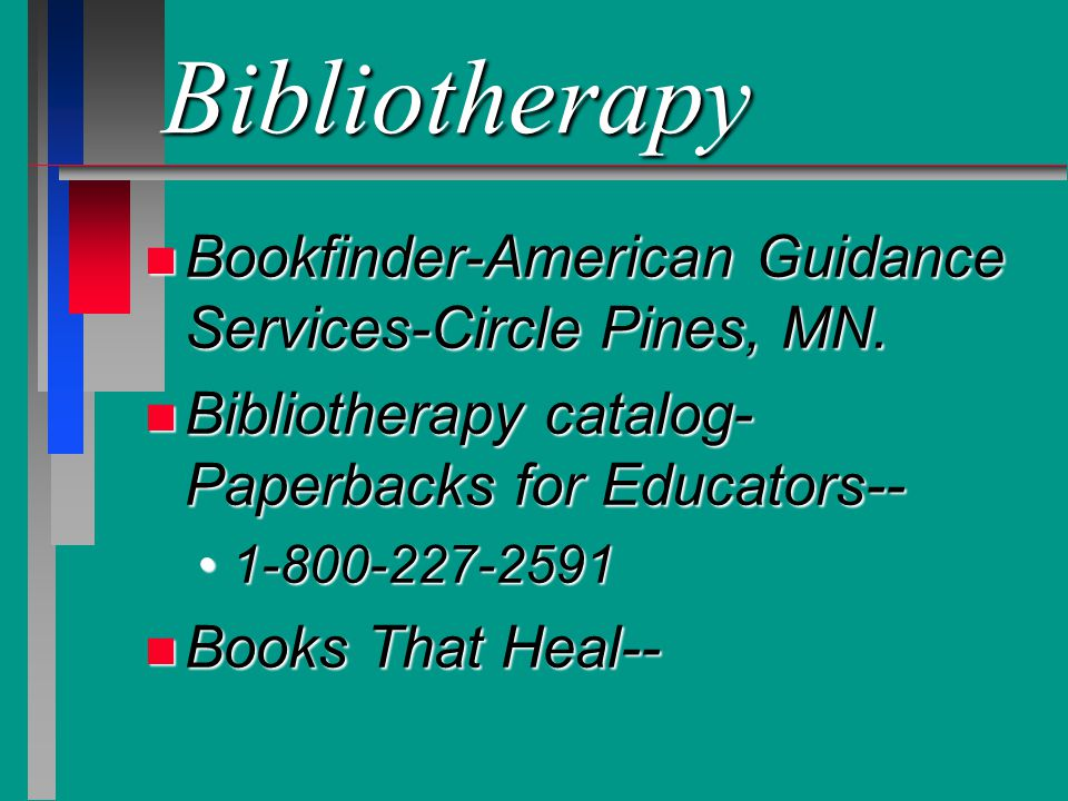 Bibliotherapy Bookfinder-American Guidance Services-Circle Pines, MN.