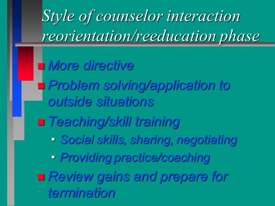 Style of counselor interaction reorientation/reeducation phase