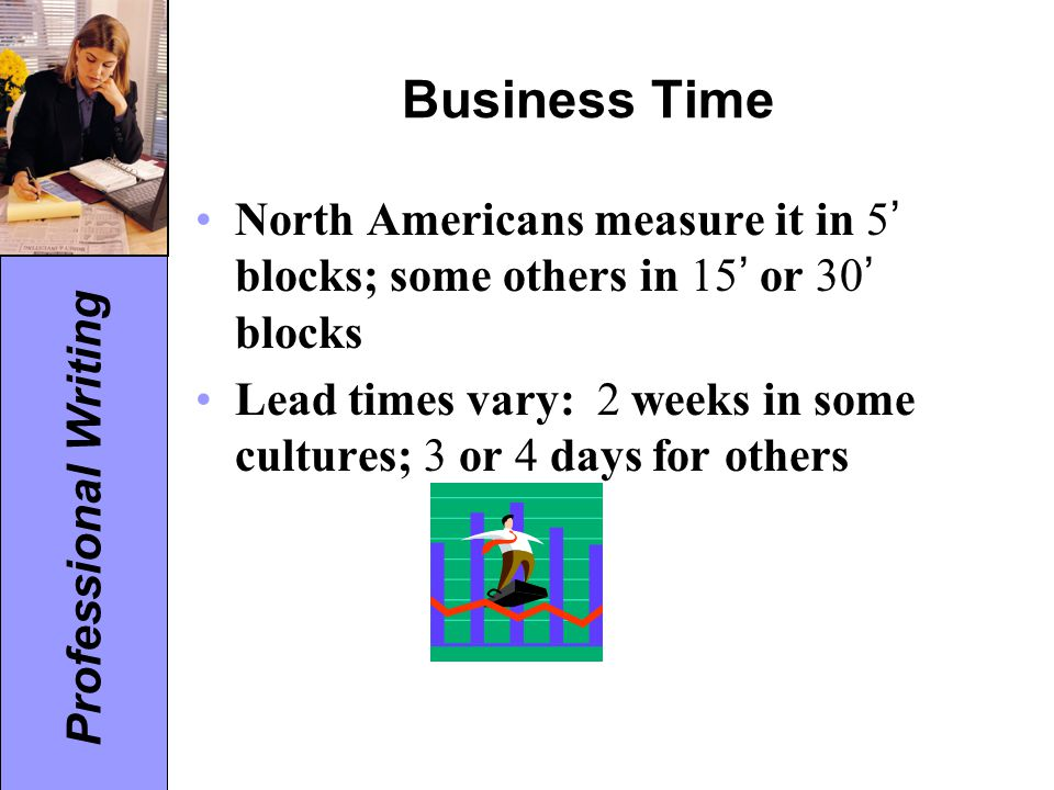 Business Time North Americans measure it in 5' blocks; some others in 15' or 30' blocks.