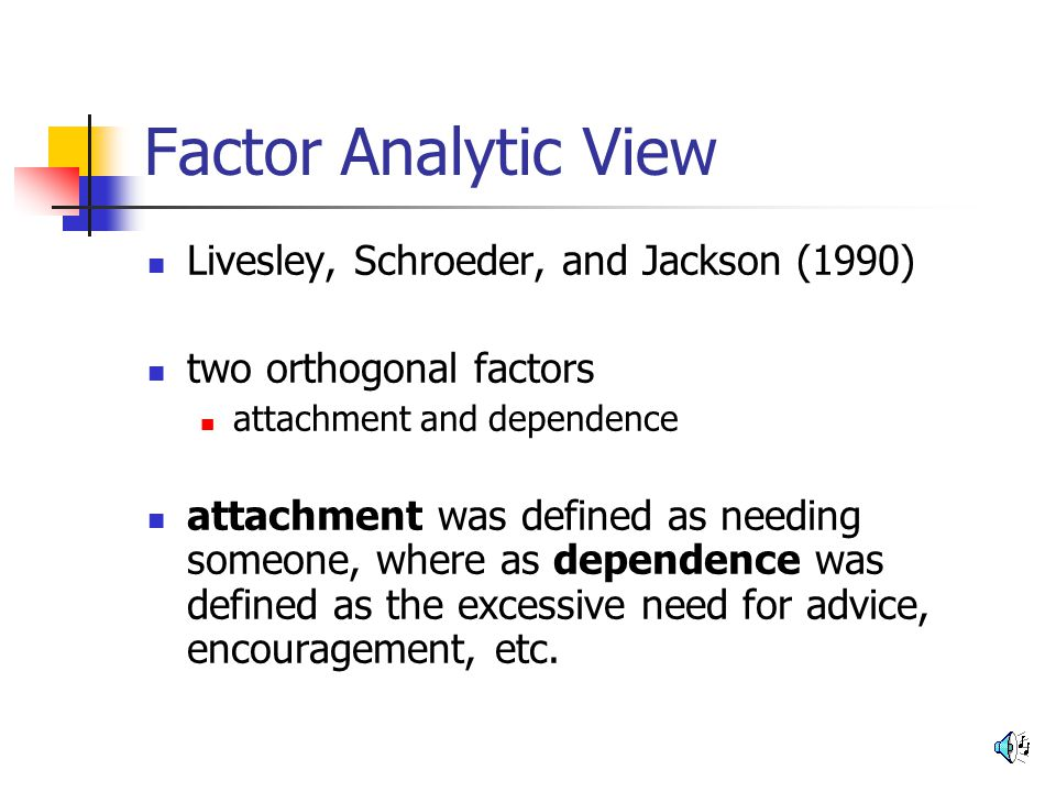 Factor Analytic View Livesley, Schroeder, and Jackson (1990)