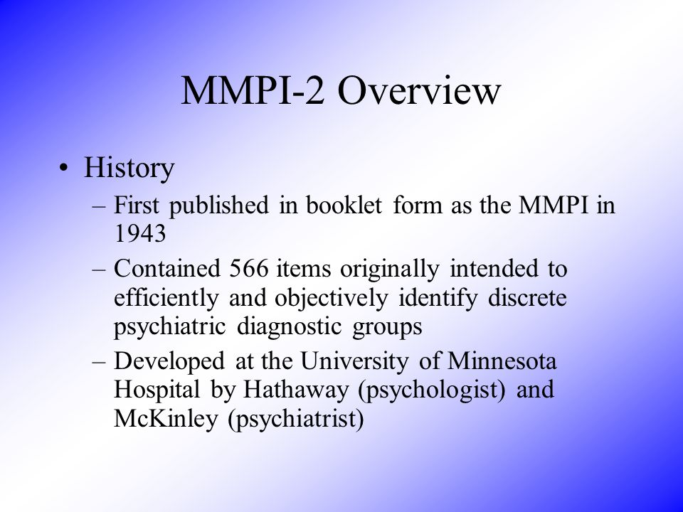 MMPI-2 Overview History