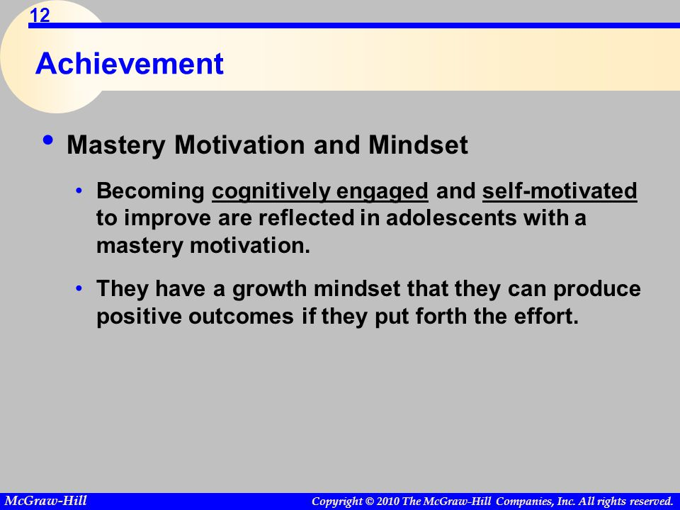 Achievement Mastery Motivation and Mindset