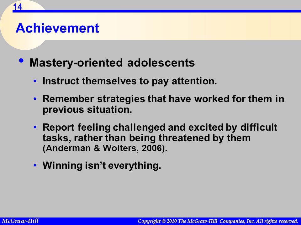 Achievement Mastery-oriented adolescents