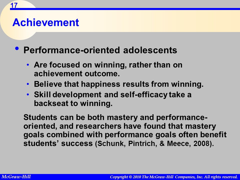 Achievement Performance-oriented adolescents