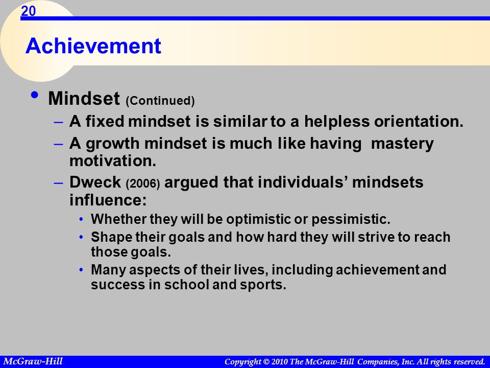 Achievement Mindset (Continued)