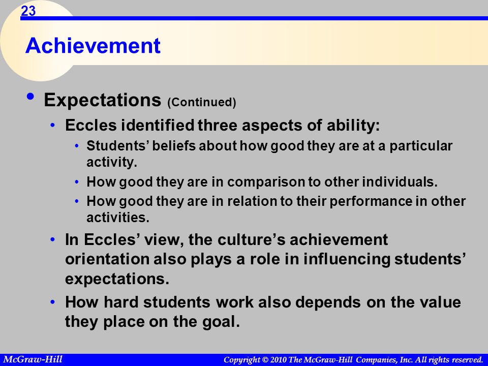 Achievement Expectations (Continued)