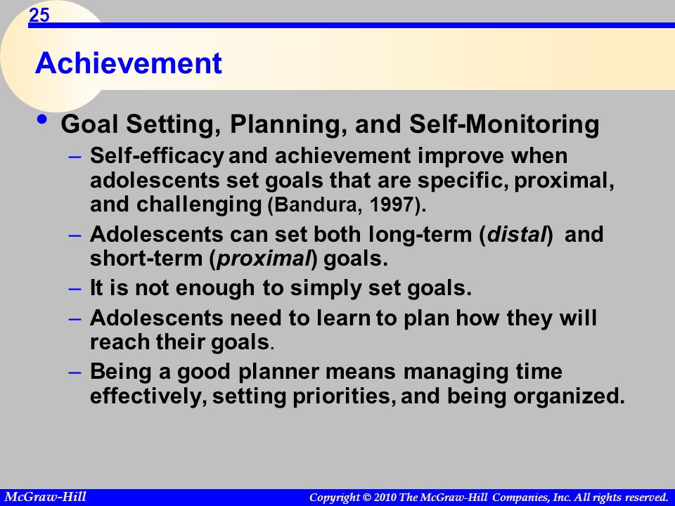 Achievement Goal Setting, Planning, and Self-Monitoring