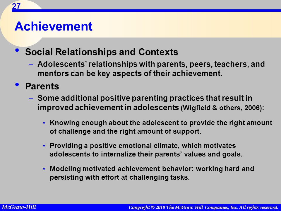 Achievement Social Relationships and Contexts Parents