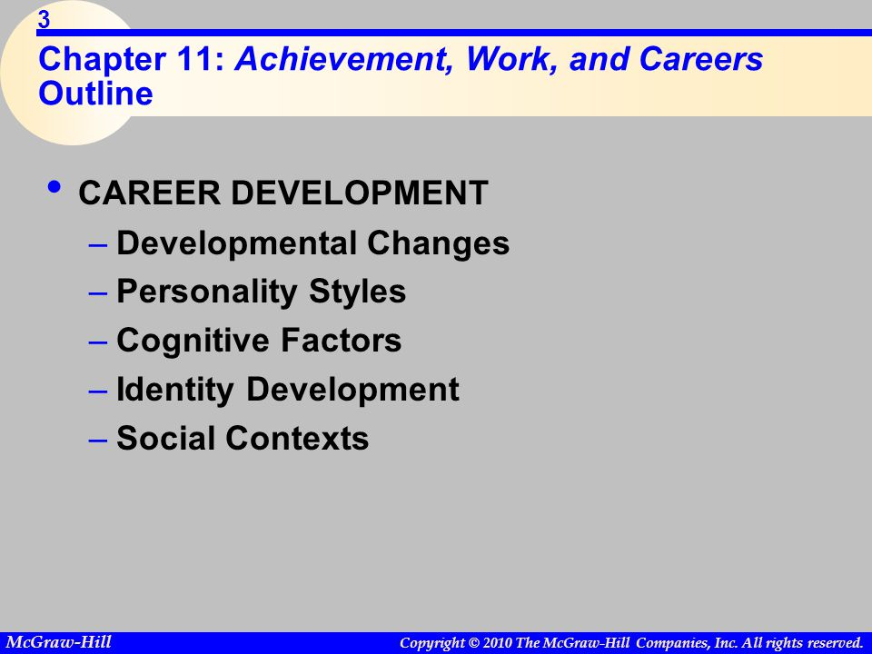 Chapter 11: Achievement, Work, and Careers Outline