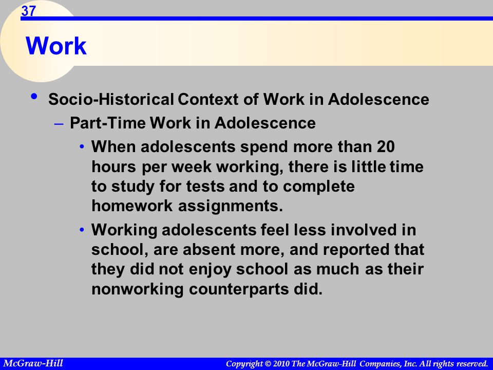 Work Socio-Historical Context of Work in Adolescence