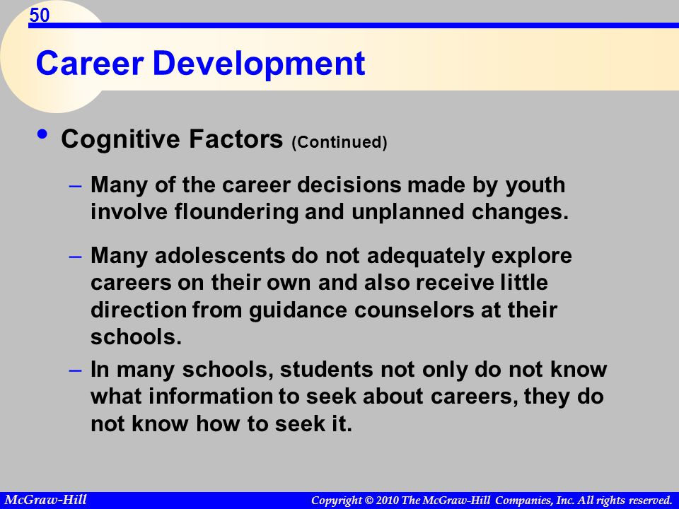 Career Development Cognitive Factors (Continued)