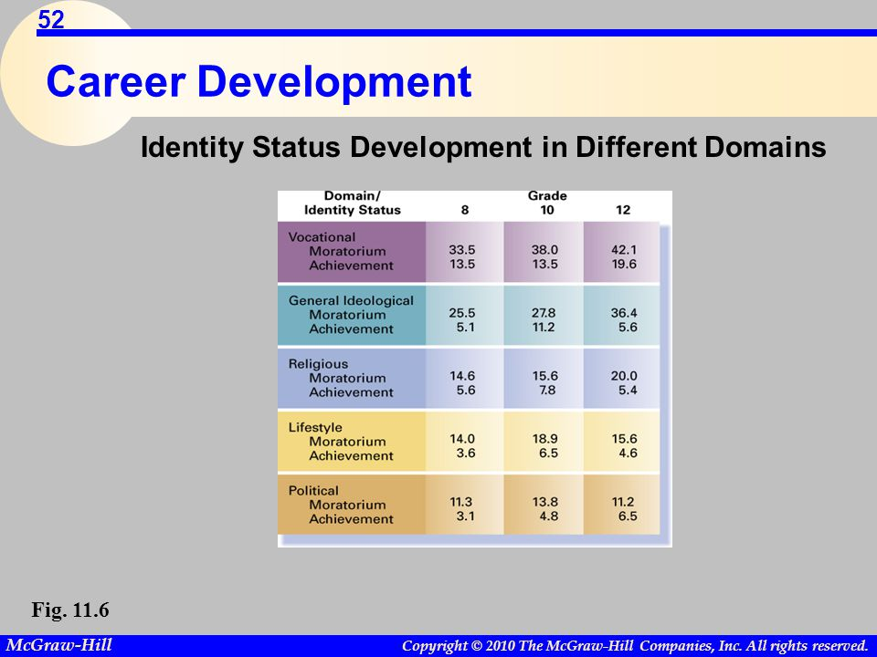 Career Development Identity Status Development in Different Domains