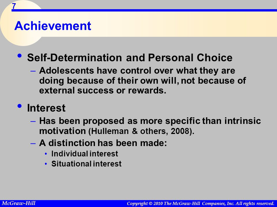 Achievement Self-Determination and Personal Choice Interest