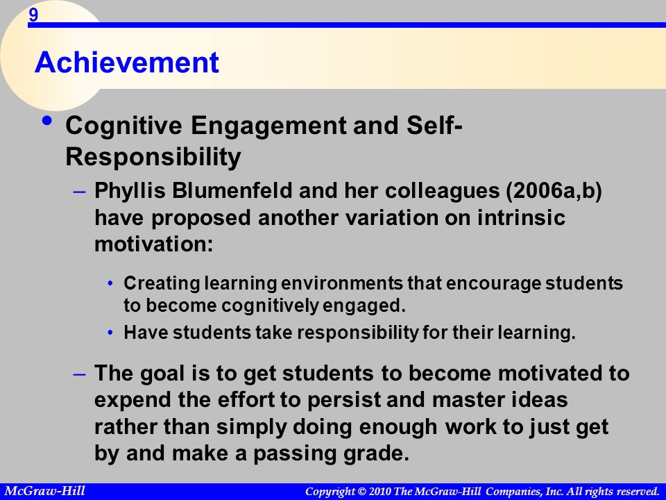 Achievement Cognitive Engagement and Self-Responsibility