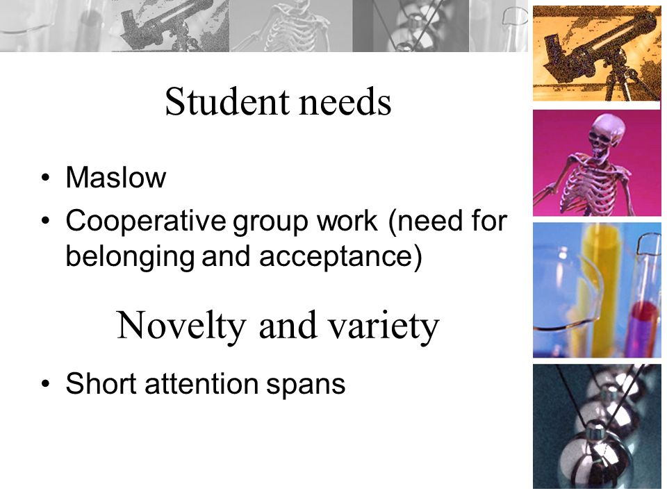 Student needs Novelty and variety Maslow