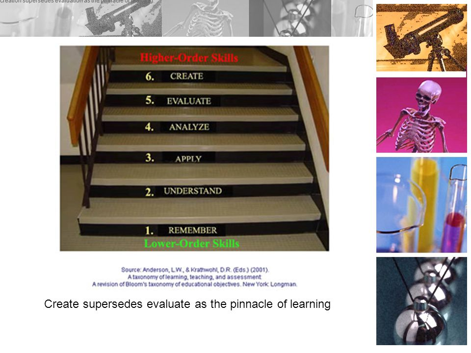 Create supersedes evaluate as the pinnacle of learning