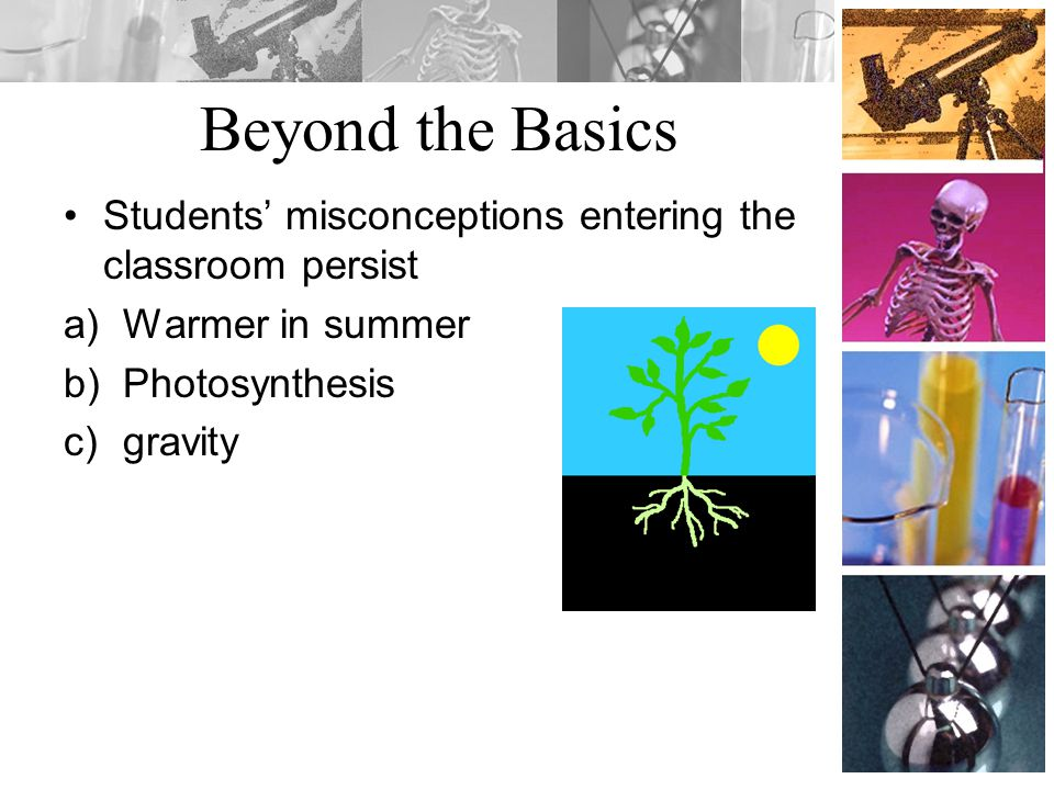 Beyond the Basics Students' misconceptions entering the classroom persist. Warmer in summer. Photosynthesis.