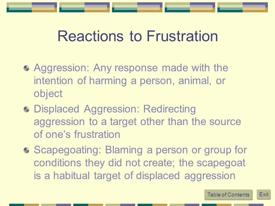 Reactions to Frustration