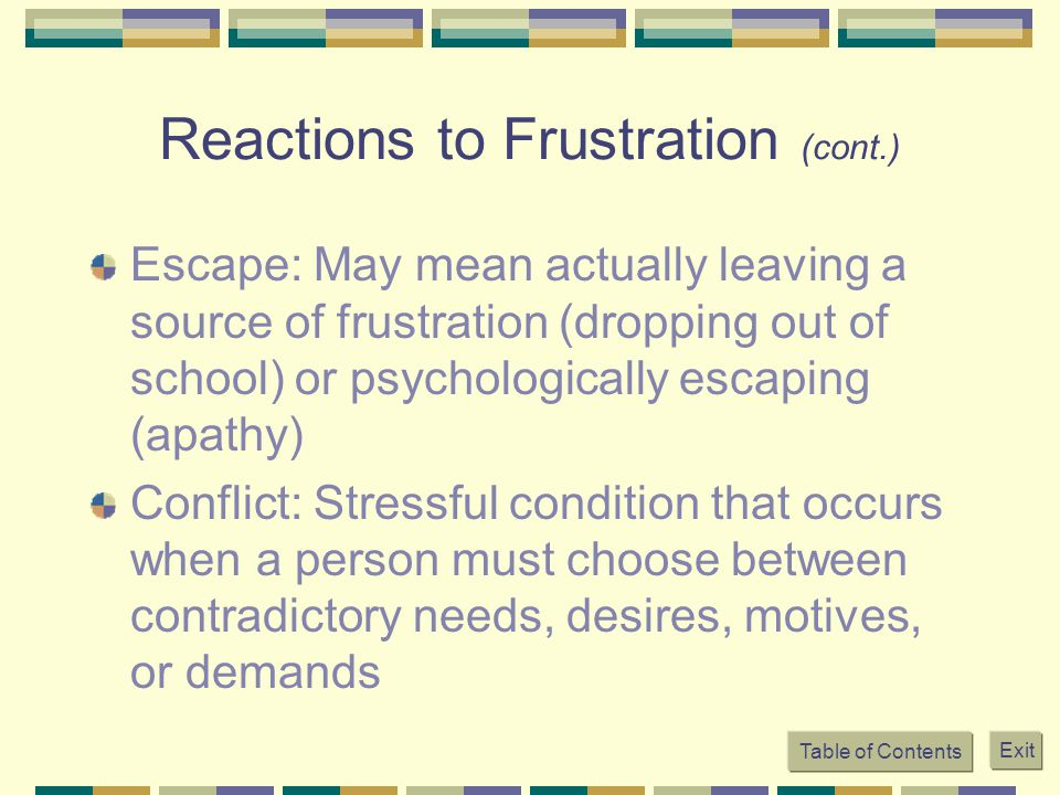 Reactions to Frustration (cont.)
