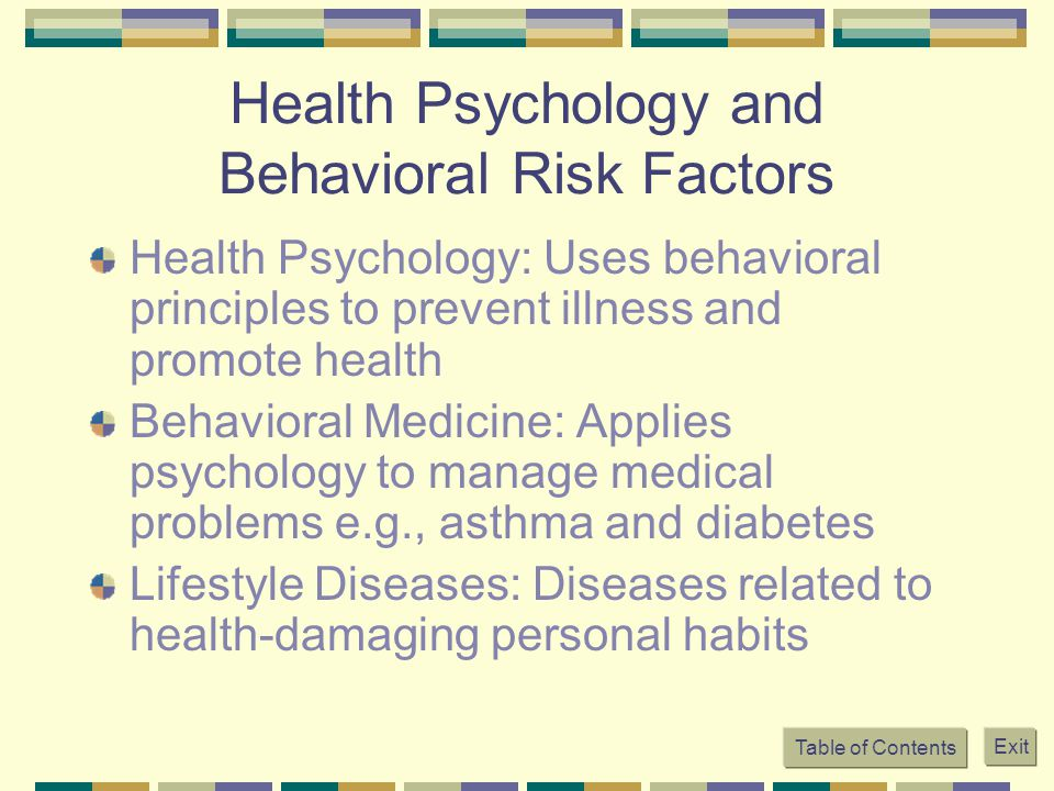Health Psychology and Behavioral Risk Factors