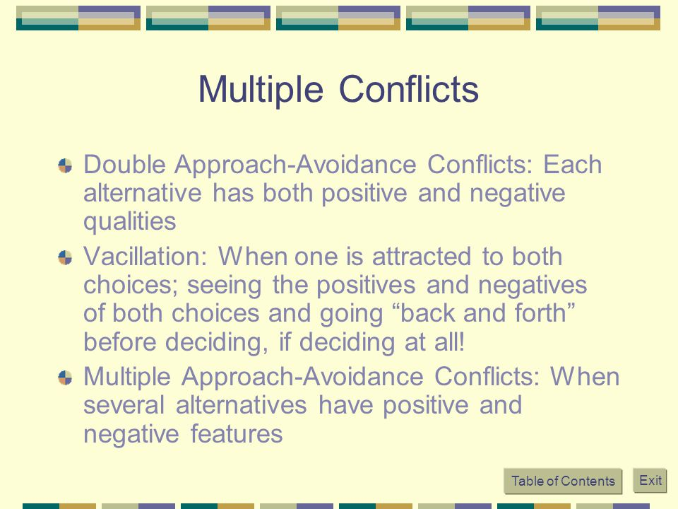 Multiple Conflicts Double Approach-Avoidance Conflicts: Each alternative has both positive and negative qualities.