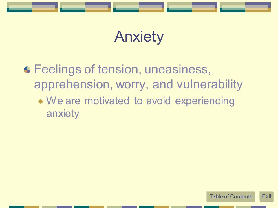Anxiety Feelings of tension, uneasiness, apprehension, worry, and vulnerability.
