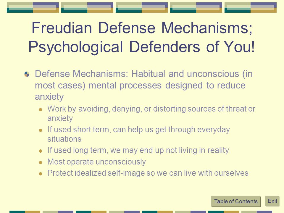 Freudian Defense Mechanisms; Psychological Defenders of You!