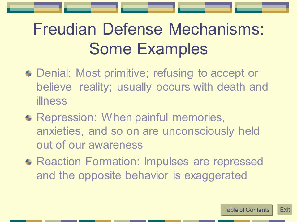 Freudian Defense Mechanisms: Some Examples