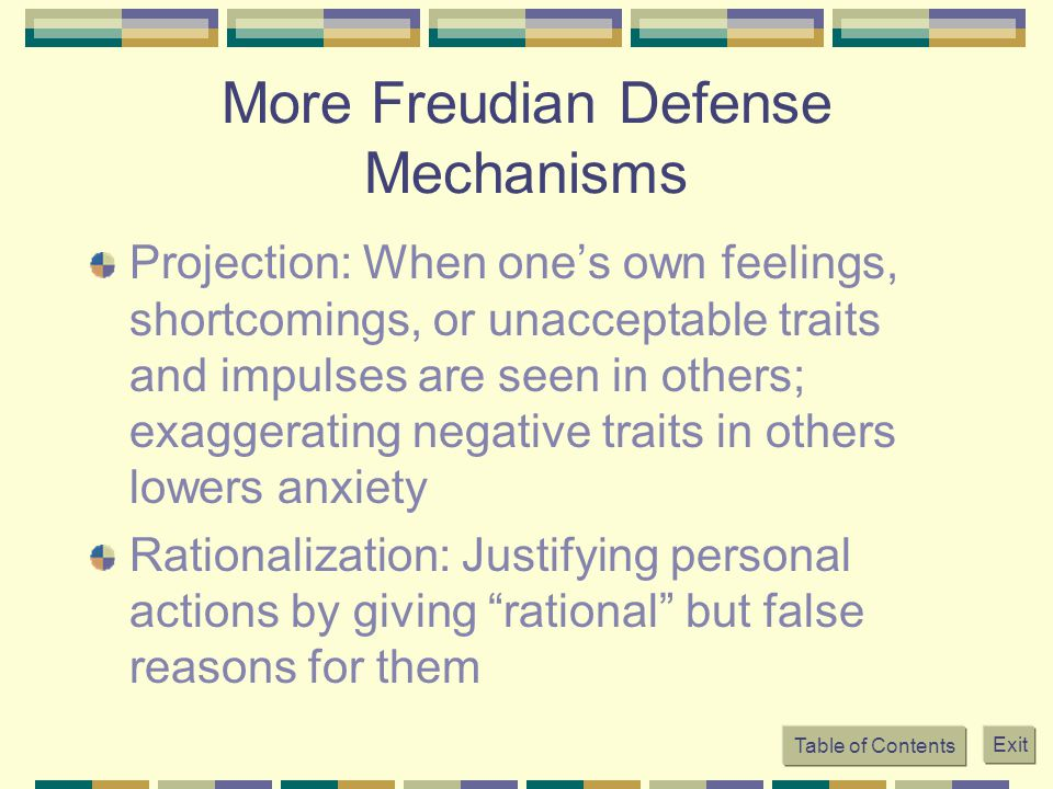 More Freudian Defense Mechanisms