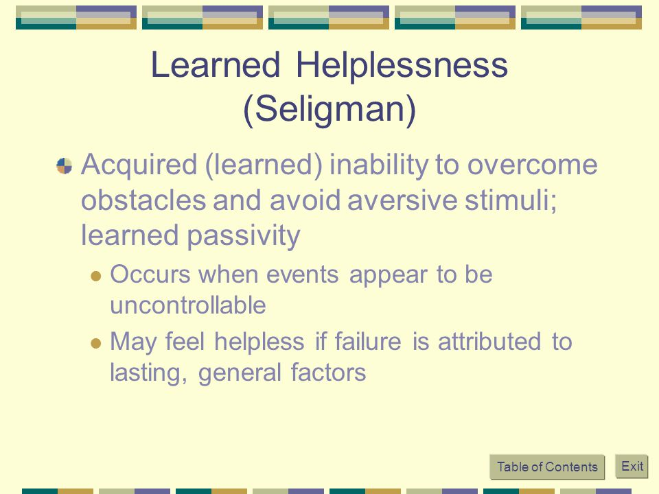 Learned Helplessness (Seligman)