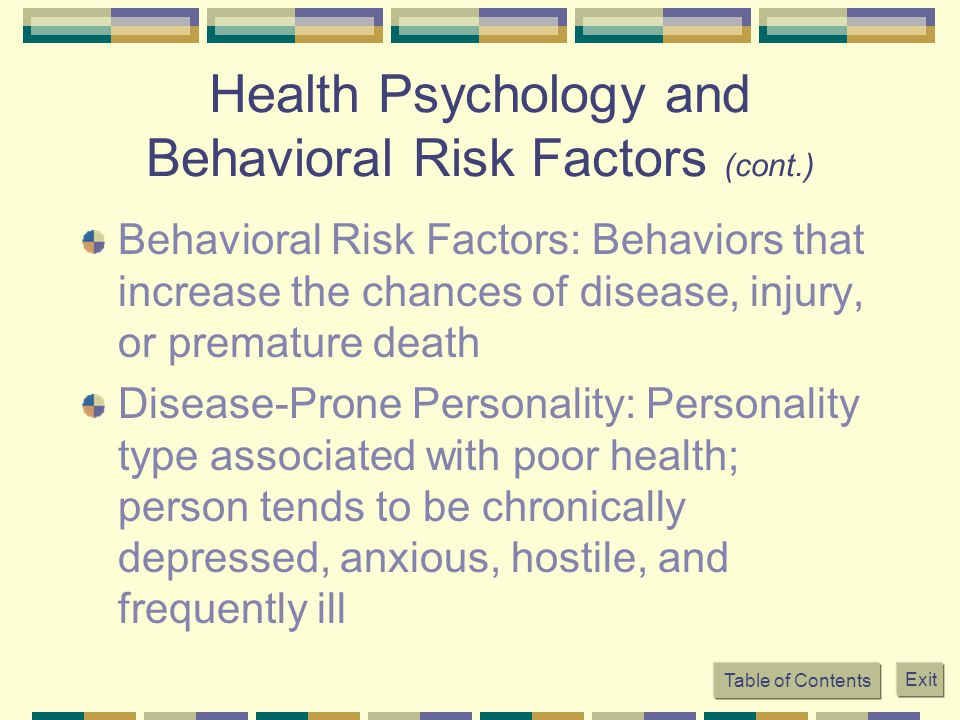 Health Psychology and Behavioral Risk Factors (cont.)