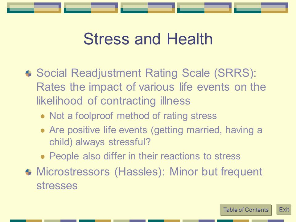 Stress and Health Social Readjustment Rating Scale (SRRS): Rates the impact of various life events on the likelihood of contracting illness.