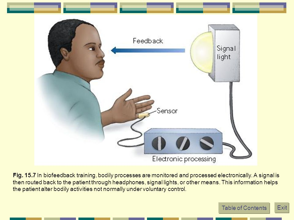 Fig. 15.7 In biofeedback training, bodily processes are monitored and processed electronically.
