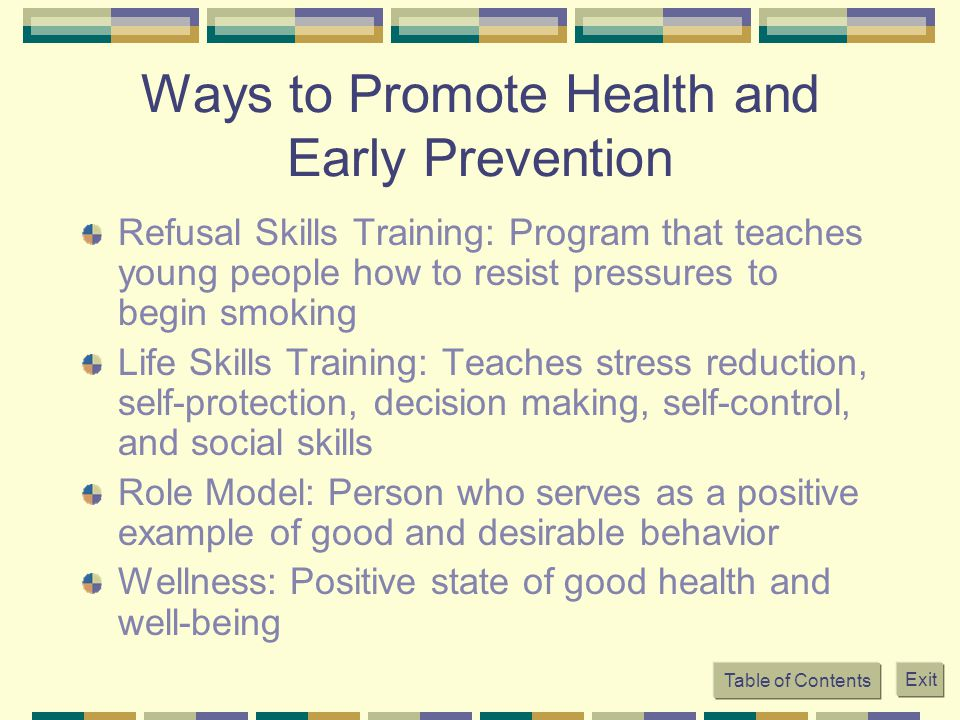 Ways to Promote Health and Early Prevention