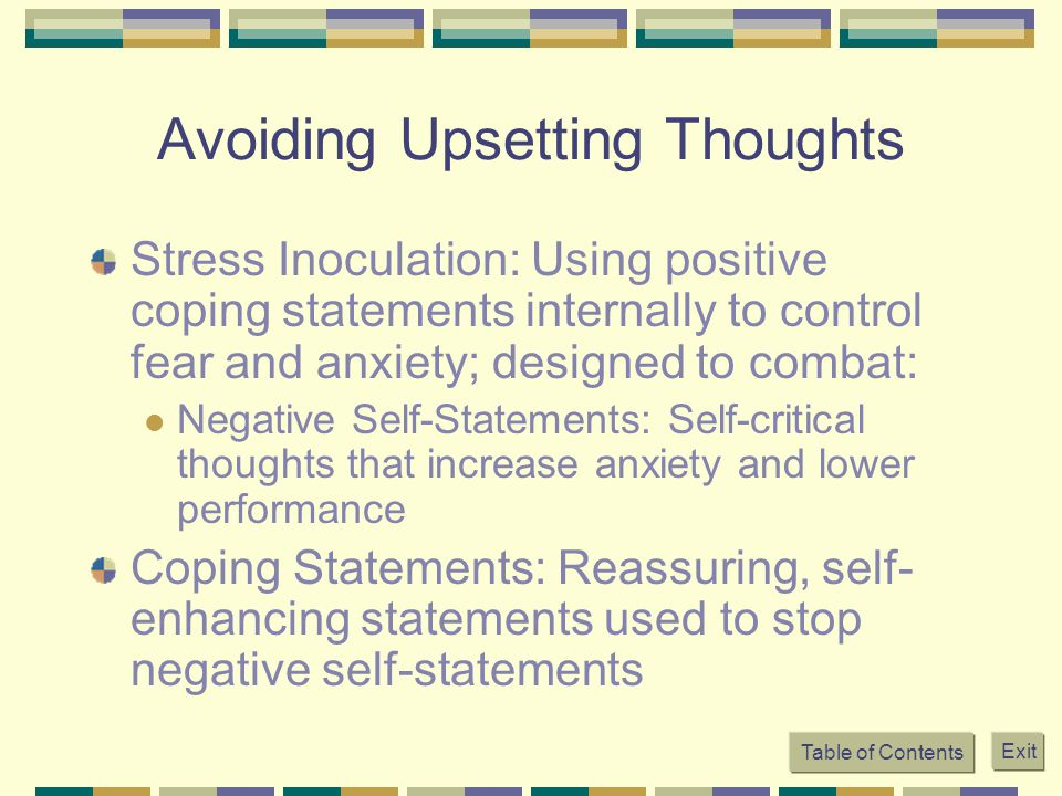 Avoiding Upsetting Thoughts