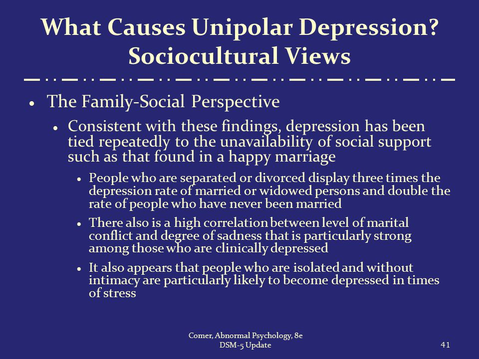 What Causes Unipolar Depression Sociocultural Views