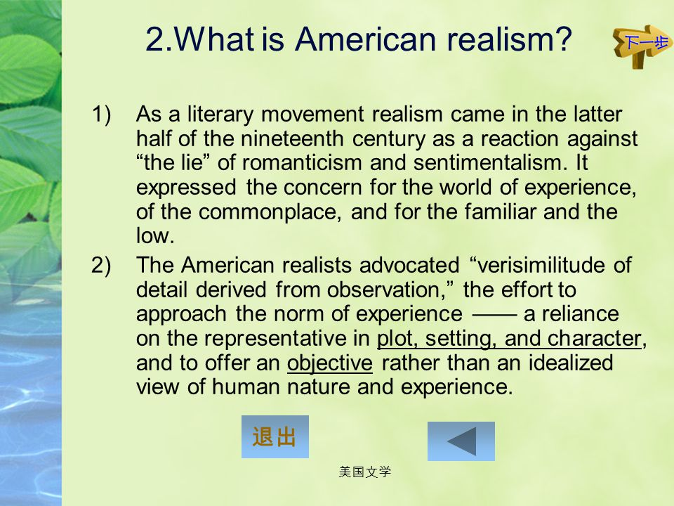 2.What is American realism