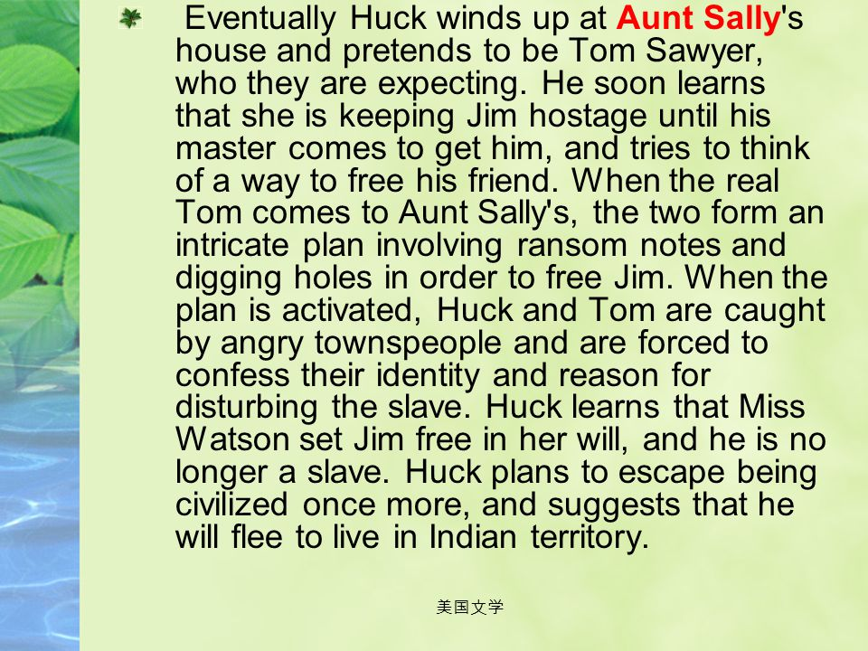 Eventually Huck winds up at Aunt Sally s house and pretends to be Tom Sawyer, who they are expecting. He soon learns that she is keeping Jim hostage until his master comes to get him, and tries to think of a way to free his friend. When the real Tom comes to Aunt Sally s, the two form an intricate plan involving ransom notes and digging holes in order to free Jim. When the plan is activated, Huck and Tom are caught by angry townspeople and are forced to confess their identity and reason for disturbing the slave. Huck learns that Miss Watson set Jim free in her will, and he is no longer a slave. Huck plans to escape being civilized once more, and suggests that he will flee to live in Indian territory.