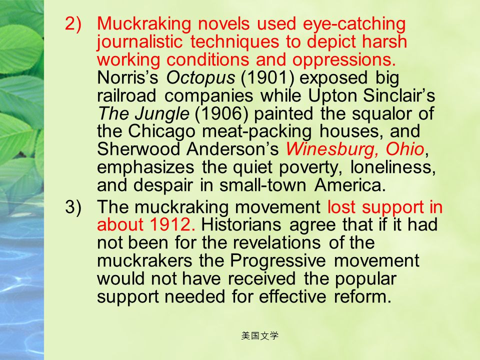 Muckraking novels used eye-catching journalistic techniques to depict harsh working conditions and oppressions. Norris's Octopus (1901) exposed big railroad companies while Upton Sinclair's The Jungle (1906) painted the squalor of the Chicago meat-packing houses, and Sherwood Anderson's Winesburg, Ohio, emphasizes the quiet poverty, loneliness, and despair in small-town America.