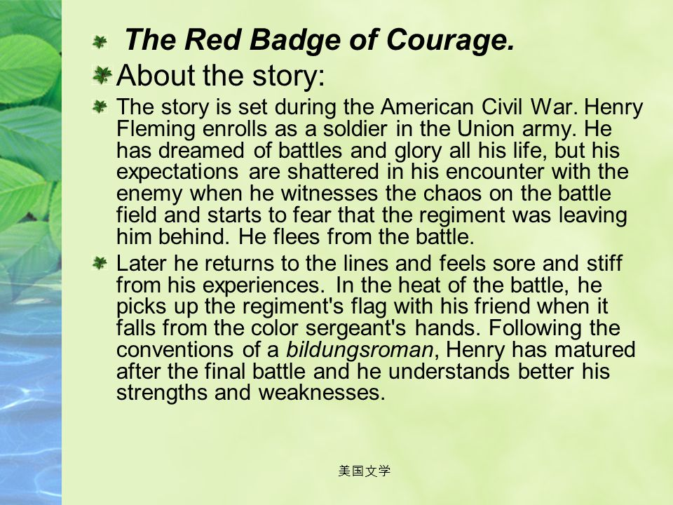 About the story: The Red Badge of Courage.