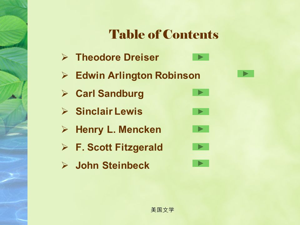 Table of Contents Theodore Dreiser Edwin Arlington Robinson
