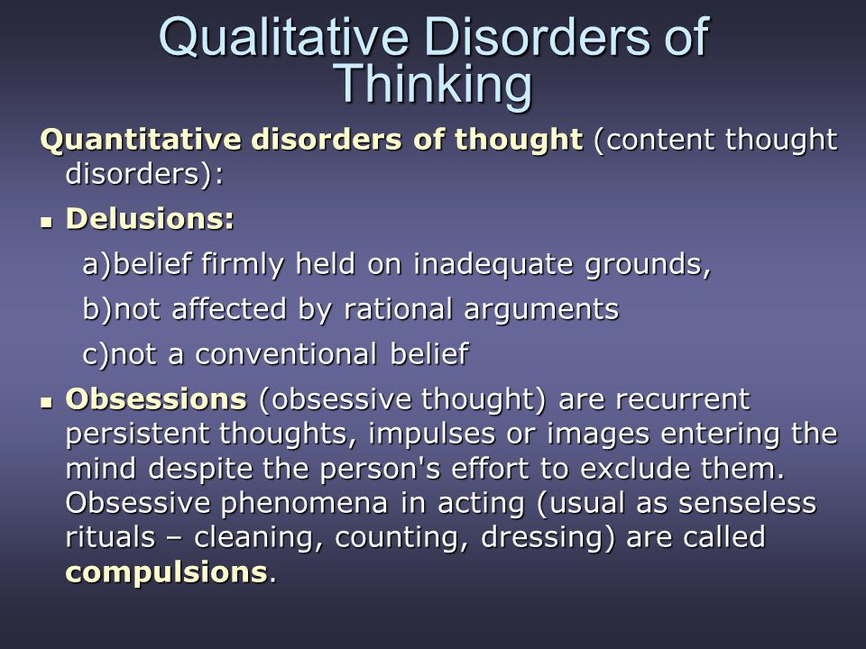 Qualitative Disorders of Thinking