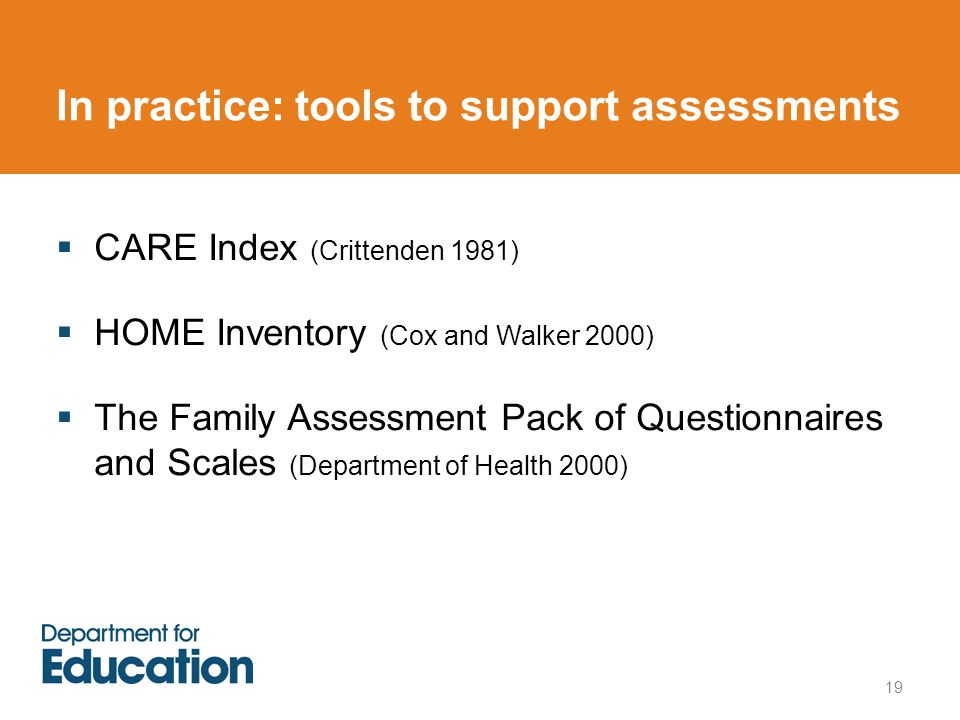 In practice: tools to support assessments