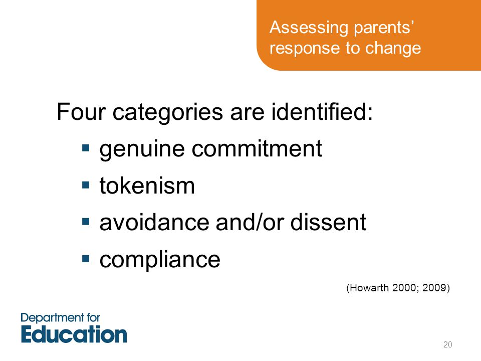 Assessing parents' response to change
