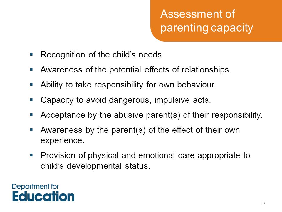 Assessment of parenting capacity