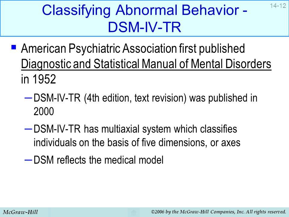 Classifying Abnormal Behavior - DSM-IV-TR