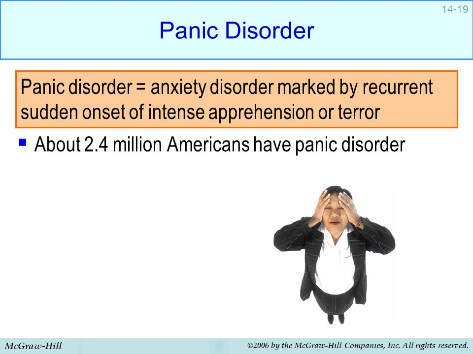 Panic Disorder About 2.4 million Americans have panic disorder.